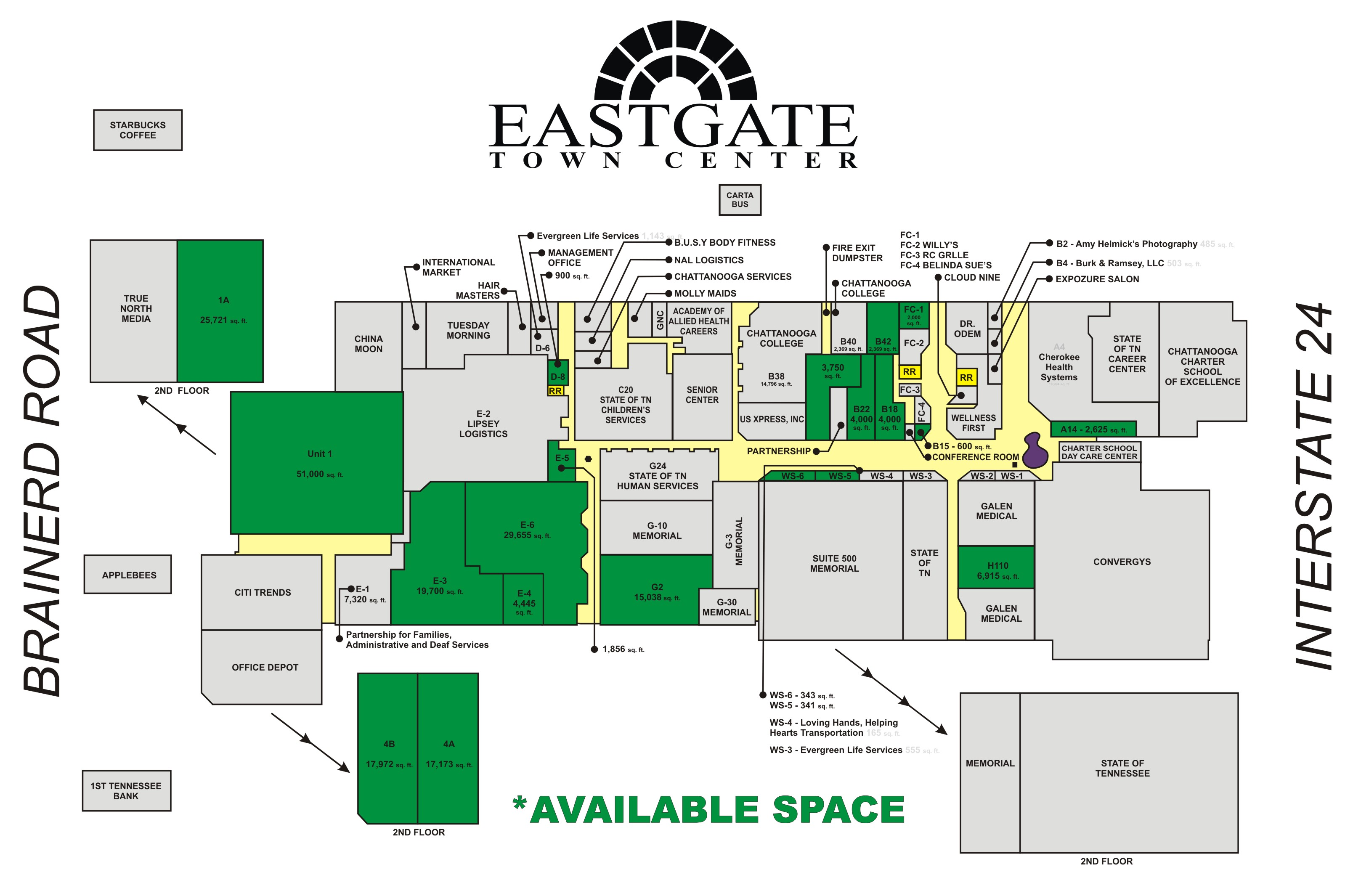 Eastgate Town Center Layout - Where is chattanooga